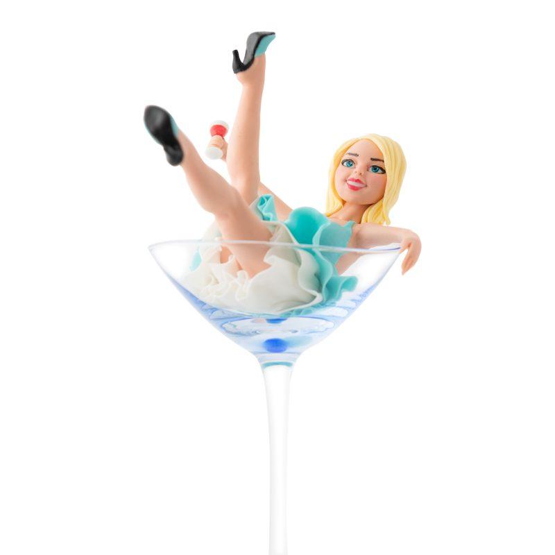 Lady in Martini Glass Fondant Cake Topper