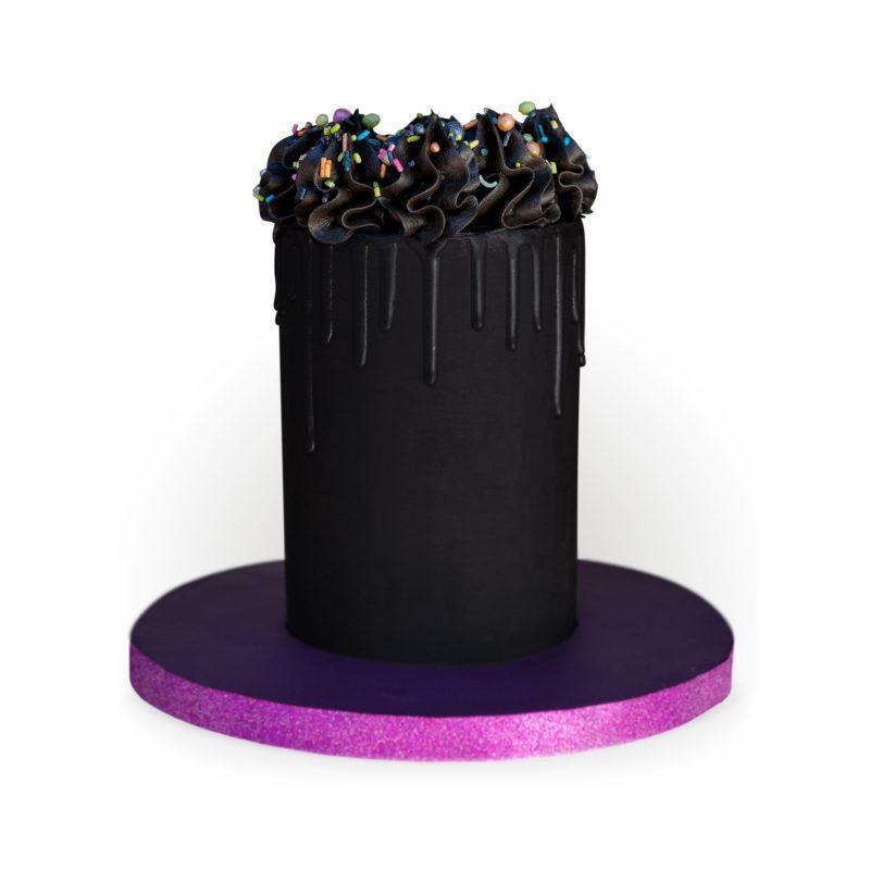Black on Black Drip Cake