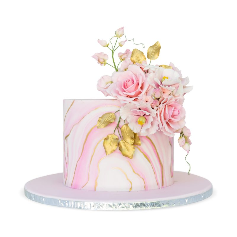 Rose Pink Marble Cake with Hand-crafted Sugar Flowers