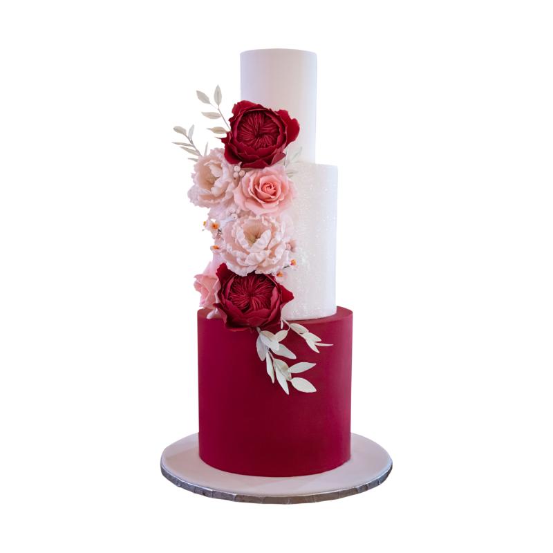 Sugar Roses & Peonies Wine Red Wedding Cake